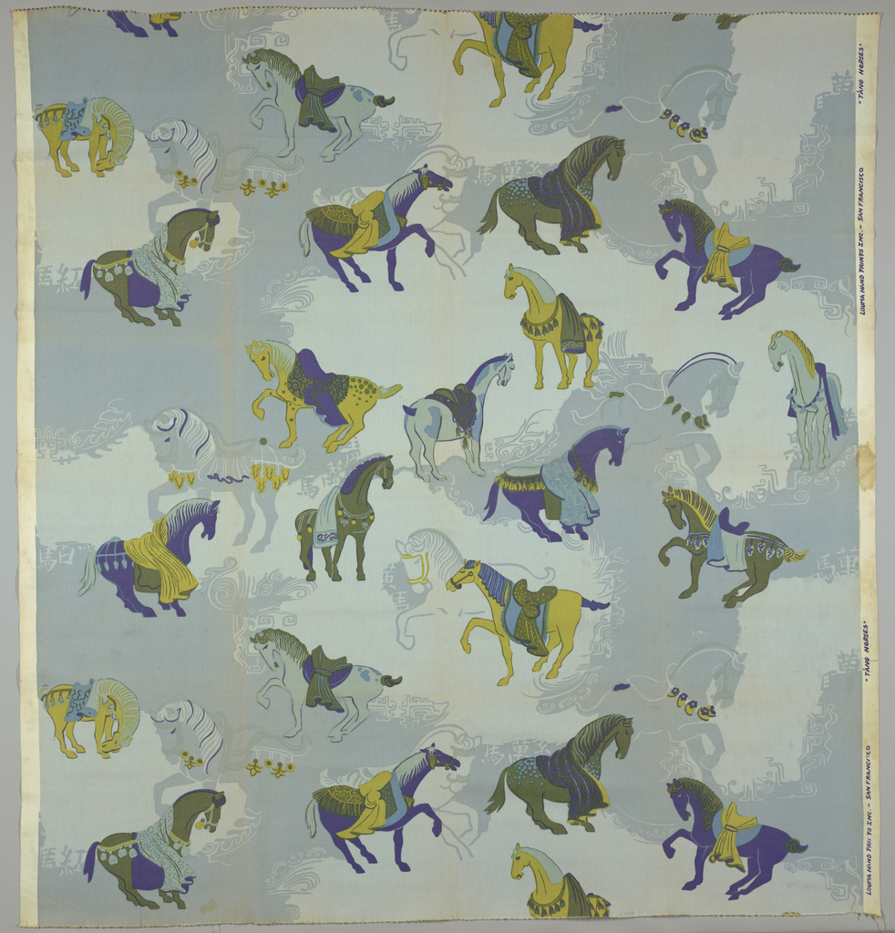 Design of scattered Asian horses, printed in blues, greens, purple and gold color on white.