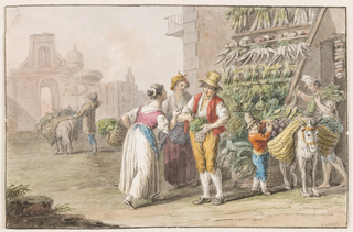 "Horizontal rectangle. The vegetables are displayed upon a scaffold at the corner of a house, and in baskets. Others are loaded by a man and a boy upon an ass. A woman bargains with the vendor with another woman standing by. A vegetable dealer with an ass is shown from the back in the middle distance. In the background at left are houses and a door leading into the inner town of Naples. Signed in pen and ink at lower right: ""Gatta."""