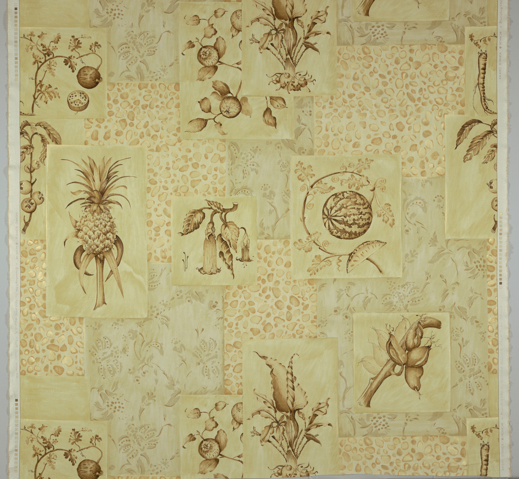 Botanical drawings, in browns, tans and metallic gold,  arranged as a collage on a background of  tans and metallic gold.