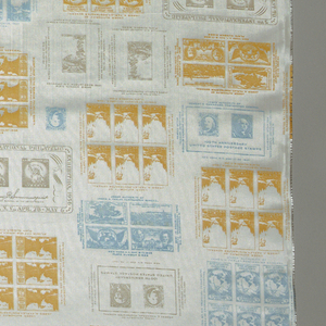Straight repeat of American stamps in yellow, blue and beige.