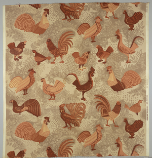 Assorted poultry in oranges, browns, and two shades of tan printed on white foundation fabric.
