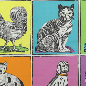 Straight repeat of animals in squares in the style of 19th century children's primers.  Two cats, two dogs, two roosters.
