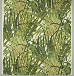 Design of overlapping palm fronds, printed in varying shades of green with brown on white.