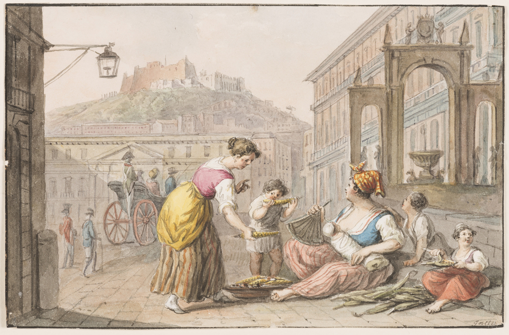 Drawing, Water color; A woman selling roasted corn