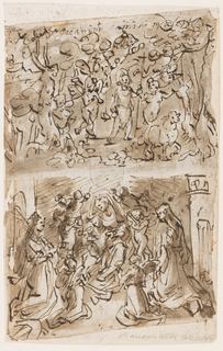 """Verso: A: St. Jerome walks to the desert. B:  The wedding of St. Catherine Recto: C: The Crucifixion. D: Christ drives the sellers and buyers out of the Temple   Vertical rectangle. Verso, top: A. St. Jerome as a boy walks through the woods preceded by the lamb and accompanied by angels. Written on top: """"S. Gioanino (?) [Girolamo?] camina in deserto""""; beside the lamb: """"5."""" Bottom: B: The seated Virgin holds the Child between her legs. He stretches his right hand out to put the ring on St. Catherine's finger. She kneels at left, at right kneels another martyr Virgin. Six angels surround the central group. Recto, top: horizontally: C: Christ's cross surrounded by the mourners. Four angels collect the blood from the wounds in chalices. Soldiers are in the background. Bottom, vertically, D: Christ stands in the center of the foreground speaking to a woman who stands at right. A man leaves carrying a bundle. The setting shows a part of the crowded court of the Temple, shaped like cloisters."""
