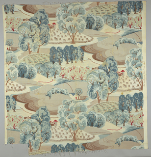 Design of a mid-western farm printed in browns, greens, blues and red on white.
