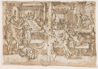 """Horizontal rectangle. Verso, left: Interior of banquet hall of King Herod. In the foreground the executioner places the head of St. John on a charger held by Salome, the headless body at their feet. Right: Banquet scene, with Salome carrying the head of St. John on a charger in the prison, scene of execution, upper right. Recto: Full-length figure of a hanging man and detail of upper section of figure. Inscription below: """"A di 16 di Marzo 1591 Mon S[.]or Alfonse."""""""