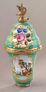 Oval, with shaped sides; hinged; lower part decorated with landscape medallions on green field, upper part with flowers on green field. Stopper at top terminates in figure of flying bird.