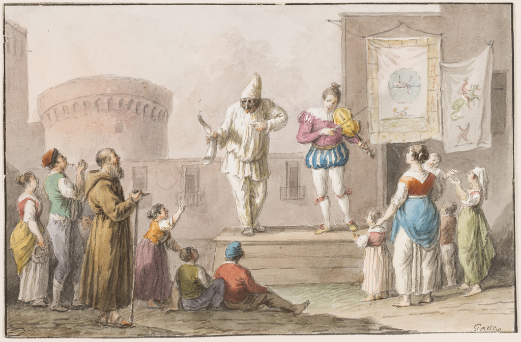 Drawing, Water color; Performers of a Commedia dell'Arte