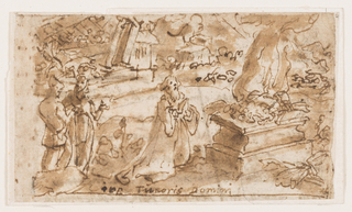 Horizontal rectangle. Recto: An outdoor scene. In the center foreground an old man kneels, his hands clasped in prayer, before an altar on which is placed a burnt offering. Two men stand, left. Ruins of a city in the background. Inscription below.