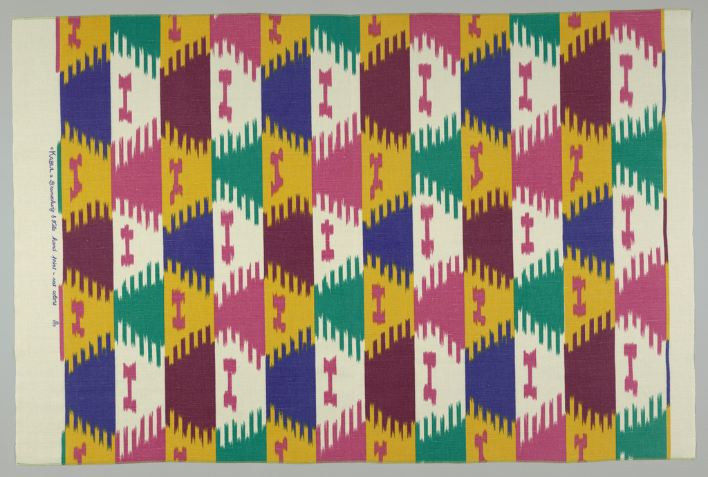 Length of printed fabric in an ikat pattern inspired by the warp tie-dyed silk of an Afghan robe in Cooper Hewitt's collection: 1979-24-1.