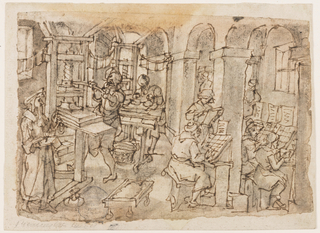 A printers shop: standing in the foreground left, a man in the attire of a scholar seems to be overseeing the process. Beside him is a press at which a man works. Behind him, another inks a plate. Wet sheets hang from suspended wires.. Three seated compositors at work at right.  A proofreader stands beside a pillar. Two more figures are in the right background. This is a preliminary design for the fourth plate in the Nova Reperta series, published by Philips Galle in Antwerp. The finished drawing is in Windsor (RL 4761).