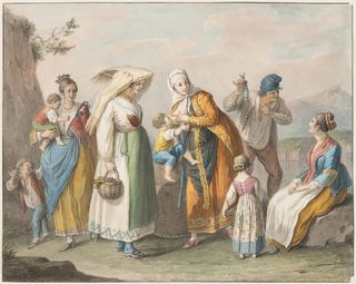 Four women, a man, and children in the dress of their respective regions.