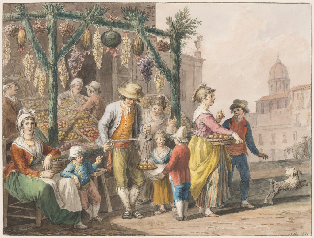Drawing, Water color; A fruit stall in Naples at Christmas