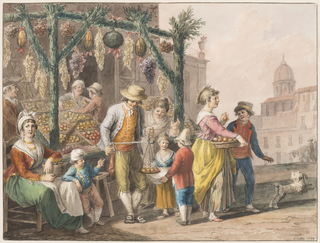 "Horizontal rectangle. The fruit boxes are displayed at left outside of a house at a square. A scaffold is erected on poles which are covered with leaves. Two men serve the customers. A woman sits upon a chair in the left corner; a boy stands beside her. A girl and a boy with a dog leave the shop at right. Framing lines. Signature: ""Gatta 1828."""