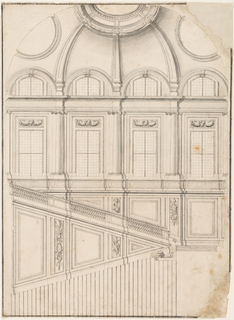 Drawing, Design for the Grand Staircase at the Royal Palace of Caserta, Italy