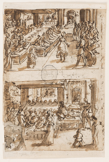 "Vertical rectangle. Verso, upper section: Interior of large hall. Salome dances near center of composition, with standing onlookers, at right. Banquet table seen in perspective, at left, with guests and King reclining on couches. Lower section: Interior of large hall. Salome dances in foreground, the banquet table parallel to picture plane, behind her. King reclines on couch, right. Recto, upper section: A large hall. The King is seated at left, facing right. Daniel stands before him. Inscription below: ""DANIEL CONSILIJ."" Lower section: Pietà in oval, left; Christ praying."
