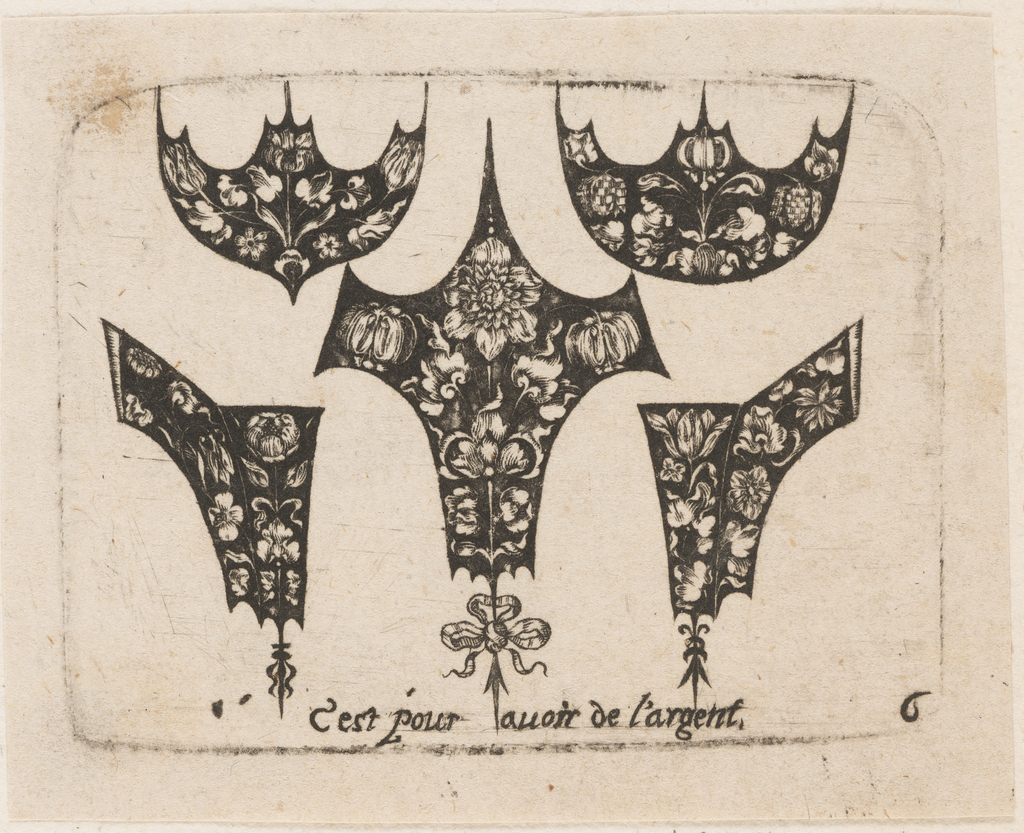 The group consists of five symetrically arranged black designs for fillets ornamented with floral motifs. Two semi-circular designs ending in severe points at top left and right show white flowers and foliage against a blackground.  Central spiked chevron design shows frontally placed flower in full bloom, flanked by two drooping buds around a center stem, in white on black. Beneath, a tri-looped bow above an arrow.  At left and right, two small hook shaped designs, also ornamented with flowers complete the group. Inscription below above plate mark.