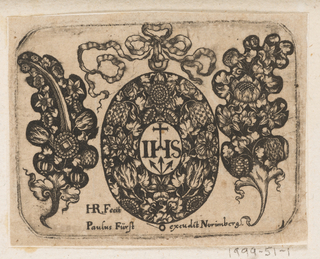 A large white on black design for an upright pendant, richly ornamented with naturalistic tulips and roses surrounding a central monogram [IHS surmounted by a cross with three nails below].  A three looped bow with trailing ribbons is fastened to the top of the pendant.  Flanking  the pendant are two leaf-shaped ornamental designs. On the left, in a stylised leaf shape, tulips and other flowers are asymmetrically arranged around a quill- like stem.  On the right, tulips and poppies are clustered in an elongated bouquet.  The print bears an imprinted monogram signature and inscription, below.