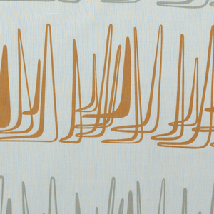 Horizontal rows of linear, overlapping boomerang forms. Rows alternate gray and tan on a white ground.