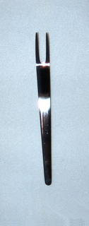 Simple one-piece form of two-pronged fork tapering to curved point at end of handle; matte finish.