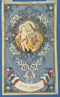 "Oval picture of Saint Joseph holding the Christ Child, within a cartouche of cut paperwork decorated with roses. Below, an inscriptional ribbon, inscribed in gold ink: ""Scantus Josephus"". Gold framing lines."