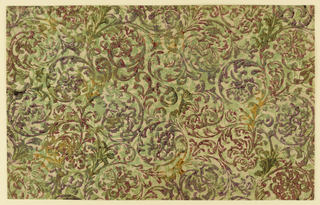 Pattern of curvilinear botanical motifs in light green, dark green, purple, and mustard inks; traces of stenciled gold; paper has been embossed by woodblock and/or stencil processes.