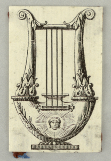 A lyre showing a girl's head in a glory of rays, at the bottom.