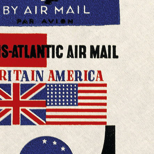 Envelope design for Imperial Airways (now, British Airways) with blocks of color on left side and text in red, white, blue and black. Centered within color blocks, a British and American flag side by side; below the logo for Imperial Airways (abstracted flying bird) contained within a blue circle.