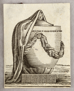 Cinerary urn, half covered by a cloth