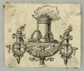 "Alter with wreath at its bottom, over a festoon which is suspended from two torches. ""AMOUR FIDELITE"" is printed on a ribbon surrounding the festoon."