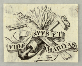 "A crucifix, an anchor, a fire, a scroll with the inscription:""FIDES SPES ET CHARITAS"""