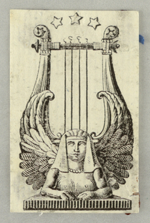 A lyre, the bottom part of the bow which is formed by a sphinx. Three stars on top.