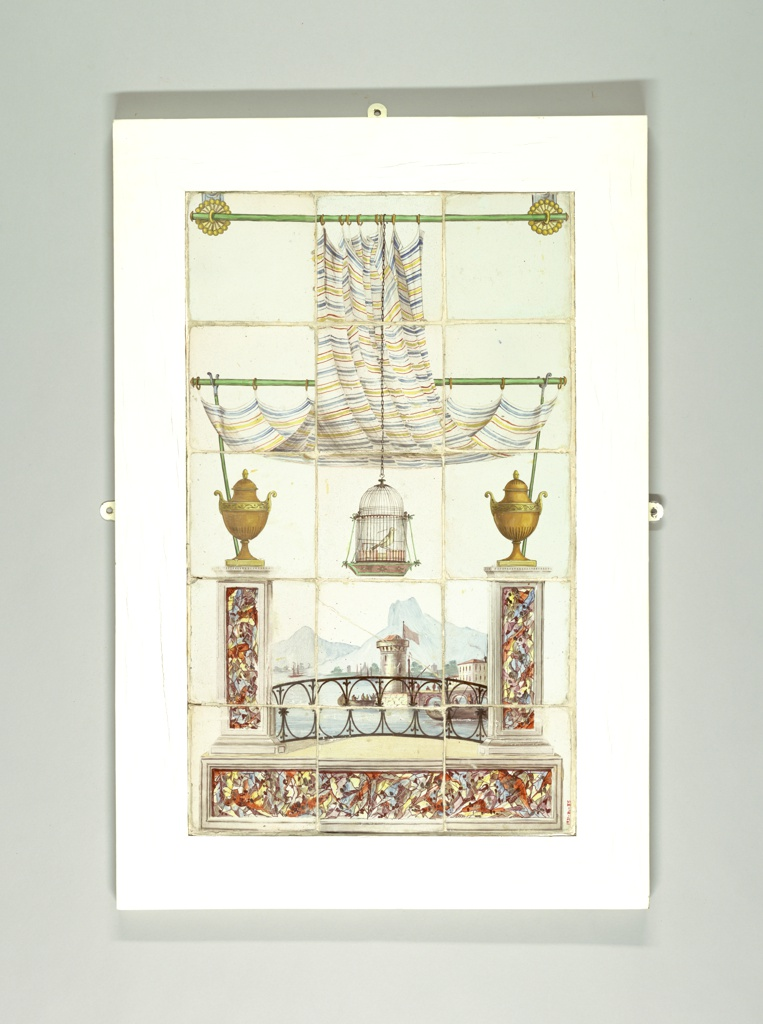 This eighteenth century scenic panel composed of fifteen tiles is a virtuoso effort in scenic trompe-l'oeil. The design places the viewer on a curtained balcony overlooking a port. Colorful faux marble columns flank a delicate iron railing. At center, a canary sits within a suspended cage.