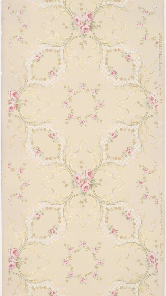 Flitter ceiling paper. Trellis or grid pattern created by the intersection of four ogival  floral medallions. Three rose blossom bouquet at interstice and floral wreath in void. Highlights of floral scrolls and flourishes printed in mica flakes.