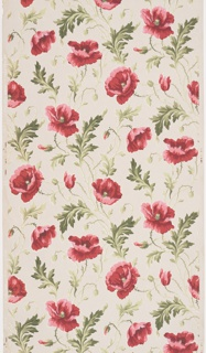Bright pink poppy flowers and green foliage appear randomly scattered, printed on tan ground.