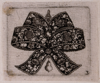 Jewelry design: a white on black design for a pendant in the form of a knotted four looped bow with two trailing ribbons below. The design is  symmetrically rendered including the pattern of intricate depictions of roses, tulips and leaves.   A small pear dangles below knot at center.