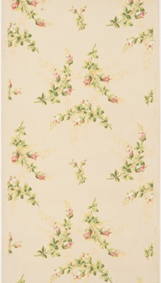Flitter ceiling paper with floral sprigs containing pink rose buds. Secondary shadow pattern printed in yellow ocher. Floral sprigs outlined in gold mica flakes. On an off-white or tan ground.