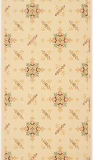On tan ground, abstract medallions in red, tan, and green, with allover motifs of S-curves and small abstract flowers.