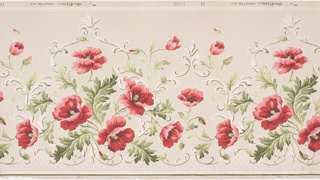 Frieze design with bright pink poppy flowers and green foliage, scrolling acanthus framework behind, alternating high and low peak. Printed on tan ground.