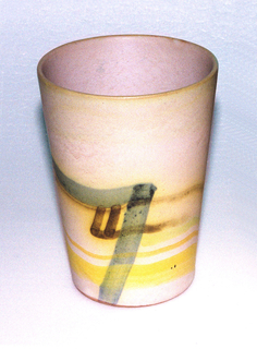 Straight slightly flared beaker decorated around object brushed line in black, yellow, and pink.