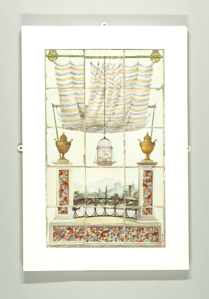 This eighteenth century scenic panel composed of fifteen tiles is a virtuoso effort in scenic trompe-l'oeil. The design places the viewer on a curtained balcony overlooking a landscape. Colorful faux marble columns flank a delicate iron railing. At center, a canary sits within a suspended cage.