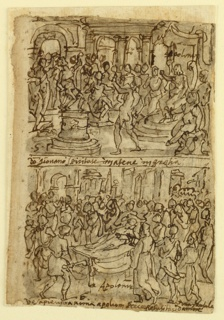 Vertical format. Verso - top: Interior - figure seated on a dais, right, others seated and standing before him. Image on pedastal, left foreground. Below - an attempt to revive a stricken person, lying on an open litter in the public square. Surrounded by a crowd. Recto - top: Interior, with a group of women assisting at a birth; below, an army marching toward left. Spectators watch at right.  Verso title: Apollonius Predicting the Year of the Three Emperors in Syracuse (top); Apollonius Predicting the Acquittal of a Man Condemned to Death in Alexandria (bottom)  Recto title: Apollonius Curing a Young Athenian Possessed of a Demon (top); Apollonius Raising a Girl from the Dead in Rome (bottom)