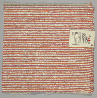 Heavy plain weave in thin horizontal stripes of pink, orange and off-white. Warp is comprised of lightweight threads in light brown while the weft has heavier threads in pink, orange and off-white.