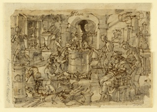 "Recto: View of a laboratory with chemists and assistants distilling. At center, a large vessel for heating. In the foreground at right, a man seated in a chair, reading a manual; a young man stands behind him. At left, a boy with mortar and pestle. Verso: Sketches of five figures. A doctor appears seated, below, and standing, above. This is a preparatory drawing for the ""Hyacum et lues venera"" print, plate 6 from Stradanus's Nova Reperta series, published in Antwerp by Philips Galle."