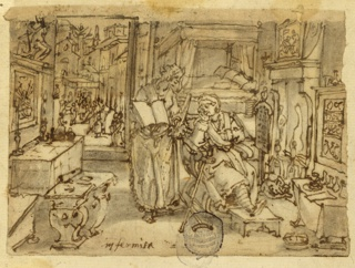 "Horizontal rectangle. Interior, with an old woman seated in an armchair before a fire. Her left leg rests on a footstool, crutches are beside her. A woman stands to her right, holding an open book. Through the open door, in the background, left, a group of figures stand in the city square. Inscription, lower left: ""Infirmità."""