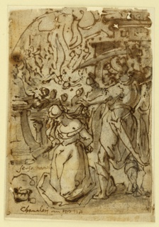 "The woman kneels in the foreground, center. The executioner raises part of her hair with his left hand, and the sword with his right. Spectators stand behind a balustrade, in the middle plane. In the background, right, a house, at left a fire which apparently killed a person. Fleeing people. A segment is outlined above. Captions beside the woman: ""senza namele (?)"" Below the figure: ""chanaleri in Torna."" Damaged, especially upper part. Mounted. Stitching holes at the left edge. Spots."