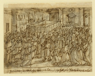 "Horizontal rectangle. Obverse: The procession is nearing a church in the right background from the leftr foreground. A bishop carrying the Monstrance walks under a canopy in the left center. Priests with burning candles follow it. A row of houses is at left. Framing line below. Caption: ""Processione generale col Sacramento."" Reverse: B: The altar is in the right middle plane. A priest with a mitre raises the Host. A lectern is in the left foreground. Framing line below. Caption: ""Messa Pontificale non avere la mitera in [testa]."" Rough upper edge. Stitching holes at the right edge."