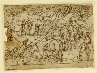 Horizontal rectangle. Hunters on horseback and on foot, accompanied by hounds, have trapped an animal in a tree. A hunter, at right, attempts to rout the animal with a long pole. Mounted. Tear, left, center.