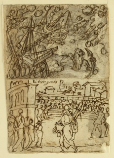 Vertical rectangle. Verso, top: Cyclops, left, attacking the ships of the Argonauts with stones; below - amphitheatre, with figures in foreground. Recto, top: Odysseys and Circe. Left, Circes, offers drink to Odysseus. He draws his sword; right, his companions turned into swine. Inscription below.